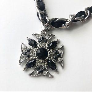 Silver & Black Cross Pendant Necklace & Earrings